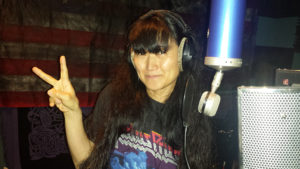 "Miwa Recording Vocals Wearing Her Judas Priest ""Ram It Down"" Shirt"