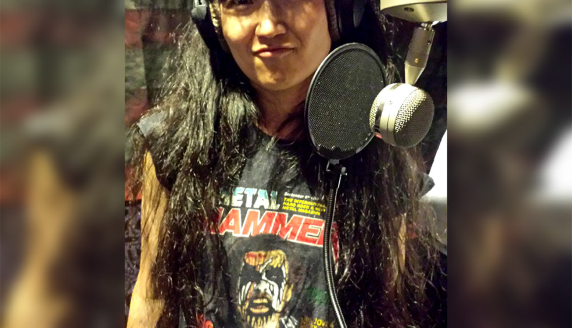 Miwa In The Studio Wearing Her Metal Hammer King Diamond Shirt For The Hell Is Real Recordings - web