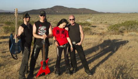Miwa - Chris Slade - Sean Lee - Bjorn Englen on the set of the MIWA - Finally Found You - video somewhere in the Mojave desert - web