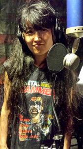 Miwa Recording Vocals Wearing Her Metal Hammer / King Diamond Shirt