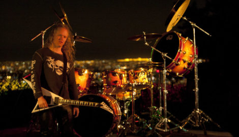 Sean Lee with Chris Slade's DW drum kit at the Hollywood Hills video shoot for the MIWA - My Wish Is Your Command video